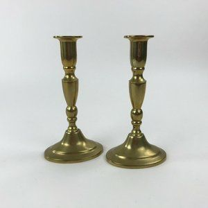 Pair Solid Brass Candlesticks for Taper Candles